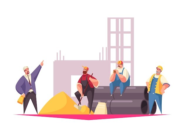 Строительство иллюстрация с мастером, давая инструкции команды строителей, одетых в форму и шлемы Бесплатные векторы