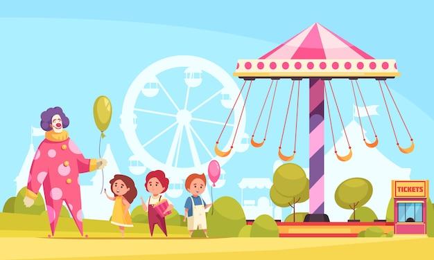 Мультфильм парк развлечений фон с клоуном, раздавая воздушные шарики детям возле карусели иллюстрации Бесплатные векторы