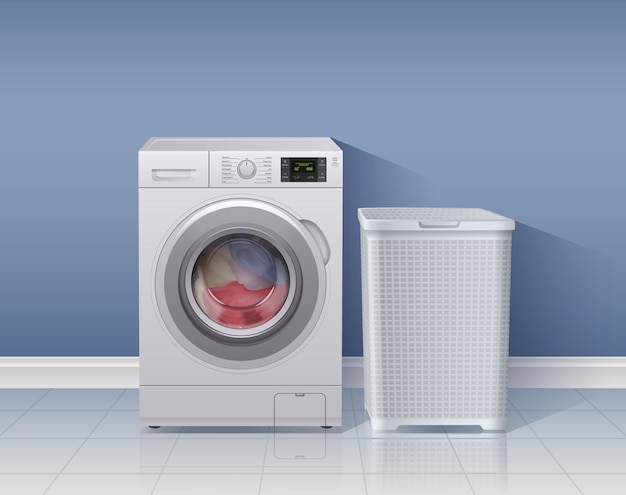 洗濯機のシンボル図と洗濯機の現実的な背景 無料ベクター
