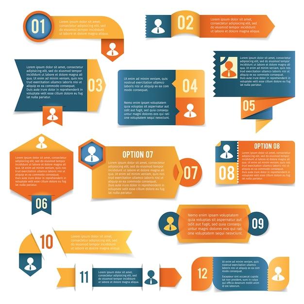 Бумажные инфографические этикетки Premium векторы