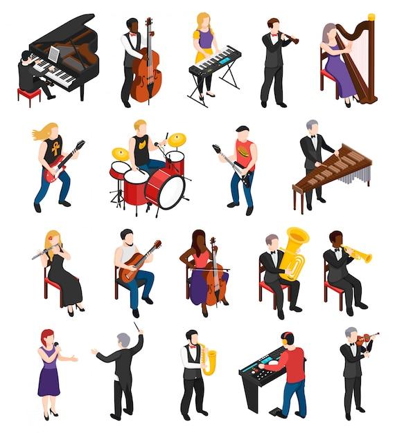 Дирижер и певец с струнными духовыми и ударными инструментами изометрических людей изолированы Бесплатные векторы