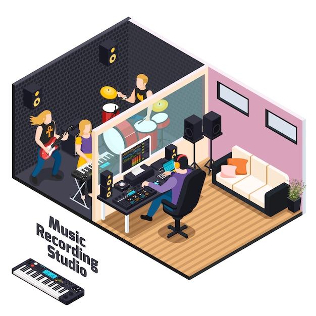Музыканты с инструментами во время записи выступления в музыкальной студии изометрической композиции Бесплатные векторы