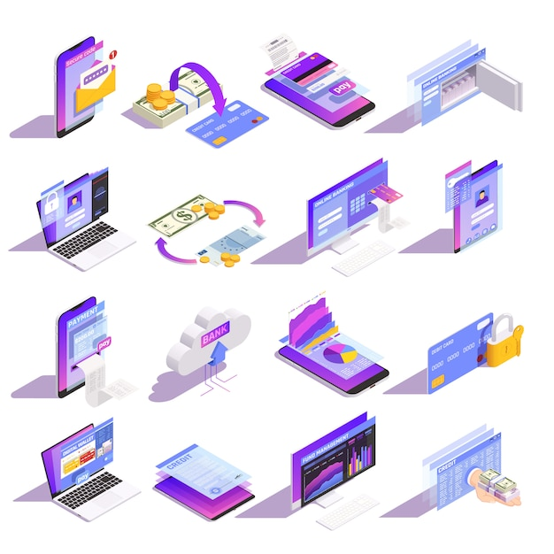 インターネットのオンラインモバイルバンキングサービス等尺性のアイコンコレクションカード構築クレジットにお金を読み込む 無料ベクター