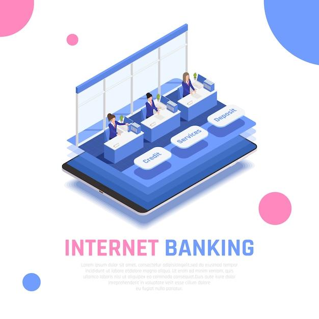 インターネットオンラインバンキングサービス等尺性シンボリック組成クレジットデポジットカウンターモバイルアプリケーションの背後にある店員と 無料ベクター