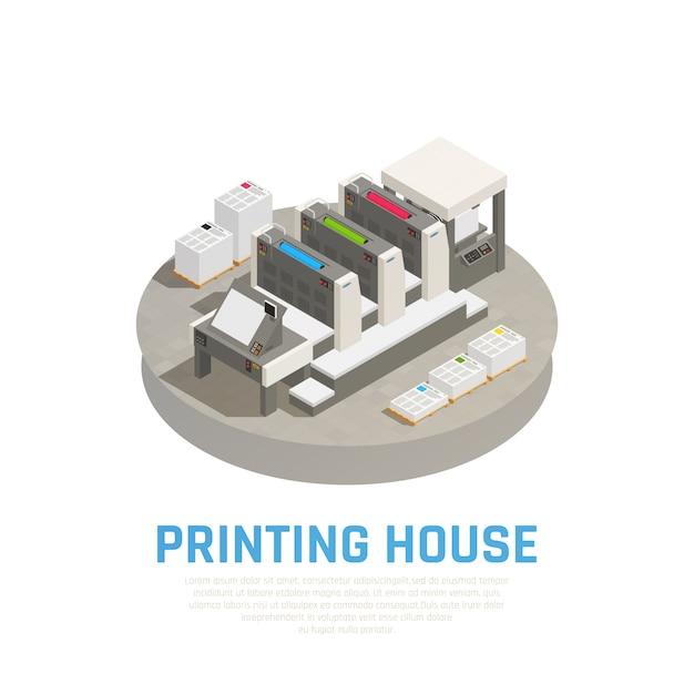 Оборудование типографии, оборудование изометрической композиции с офсетной печатью, препринт, раскрой, переплет, брошюры, документы круглые Бесплатные векторы