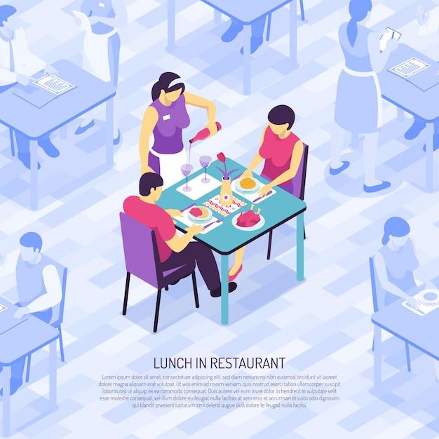 等尺性の顧客の昼食時にグラスでワインを瓶詰めするレストランのウェイター 無料ベクター
