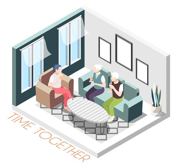 Изометрические цветной состав время вместе с девочкой посещает родителей в их домашней иллюстрации Бесплатные векторы