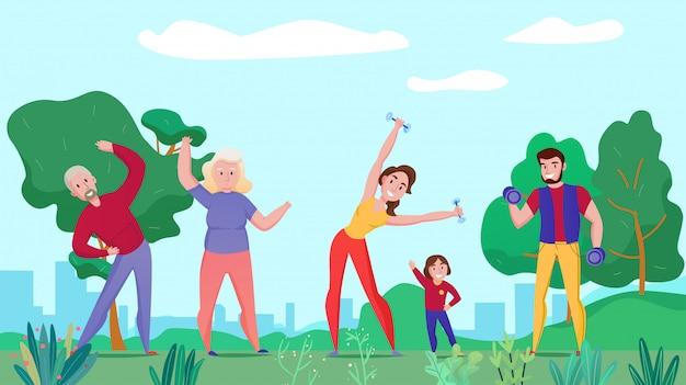 Здоровье семьи фитнес спорт плоская горизонтальная композиция с бабушкой и дедушкой родителей ребенок упражняется со штангой на открытом воздухе Бесплатные векторы