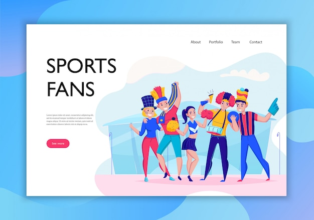 Фанаты подбадривают баннер концепции команды с заголовком спортивного болельщика и видят больше кнопки иллюстрации Бесплатные векторы