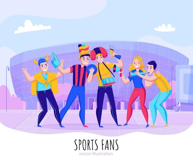 スタジアムの背景イラストにポーズをとる人々のグループとチーム構成を応援するファン 無料ベクター