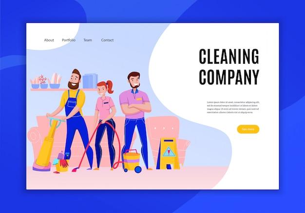 プロの清掃会社のサービス業務は、イラストを掃除人員とコンセプトフラットホームページウェブサイトバナーを提供しています 無料ベクター