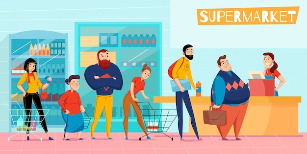Люди, стоящие в длинной очереди супермаркета, выстраиваются в очередь, ожидая оформления заказа, горизонтальный плоский состав иллюстрации Бесплатные векторы