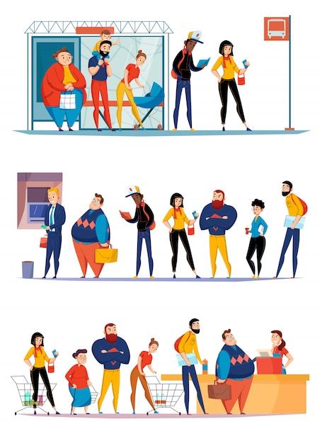Люди, стоящие в очереди в супермаркете, ожидающие покупки в автобусе, выстраиваются в очередь за банкоматом плоские горизонтальные наборы иллюстрации Бесплатные векторы