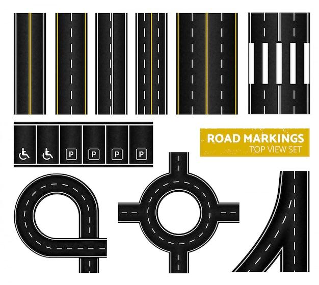 異なるマーキング白と黄色のイラストで設定された黒い道路標示トップビューアイコン 無料ベクター