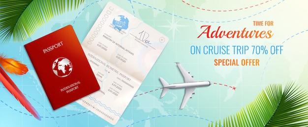 バイオメトリックパスポート旅行広告現実的な構成の時間の冒険特別オファーイラスト 無料ベクター