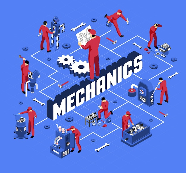Механик с профессиональным оборудованием и инструментами во время работы изометрической блок-схемы на синем Бесплатные векторы