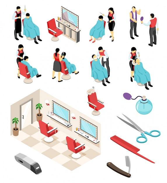 Изометрические парикмахерские парикмахерские профессиональные наборы с человеческими персонажами предметов мебели и парикмахерского оборудования, инструментов Бесплатные векторы