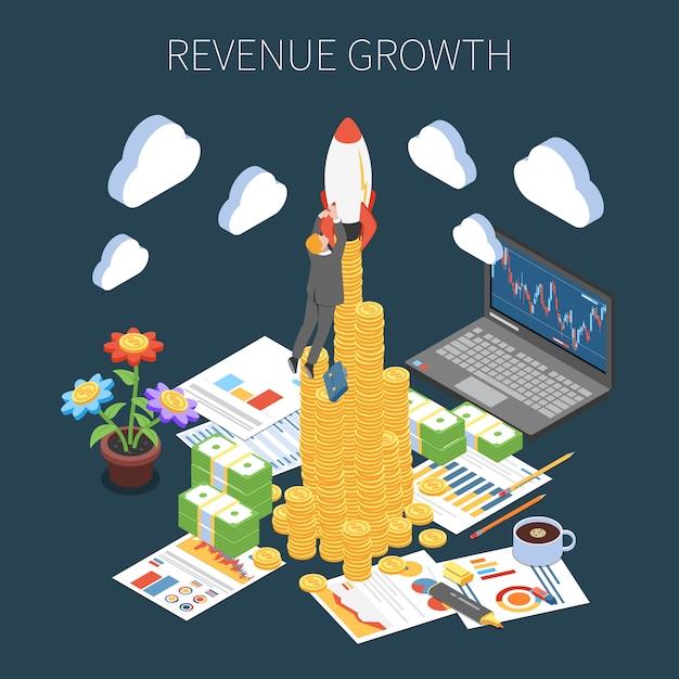 収益成長等尺性組成物暗闇でのプロジェクトの成功による利益の増加 無料ベクター