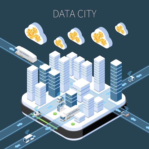 クラウドサービスサーバーインフラストラクチャと暗闇での情報転送を使用したデータシティ等尺性構成 無料ベクター