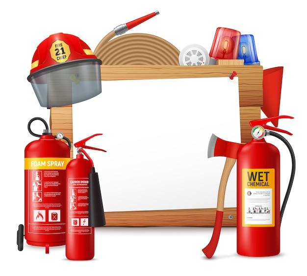 Рамка огнетушителя с прозрачным листом бумаги на деревянной поверхности с иллюстрацией для бутылок для пожаротушения Бесплатные векторы