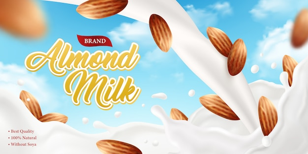現実的なアーモンドミルクポスター広告の背景に華やかなブランドテキスト、空とナッツの画像イラストの構成 無料ベクター