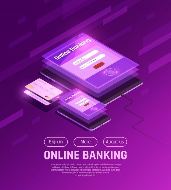 Интернет-банк изометрические веб-страницы Бесплатные векторы