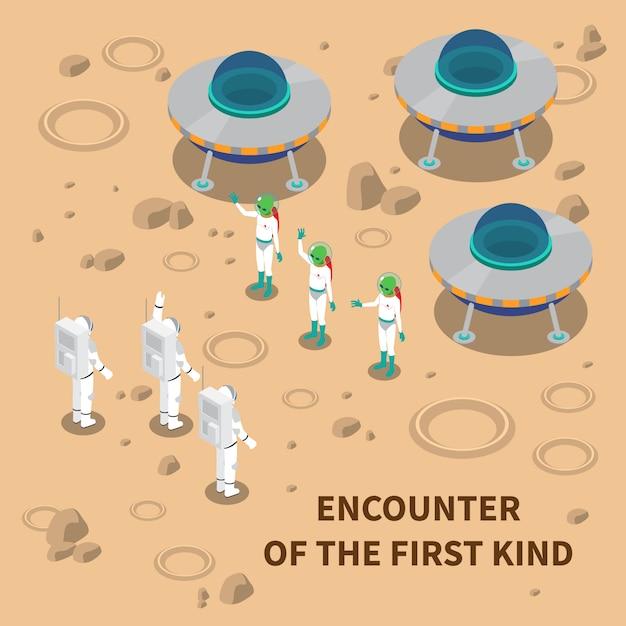 Инопланетная встреча изометрическая композиция Бесплатные векторы