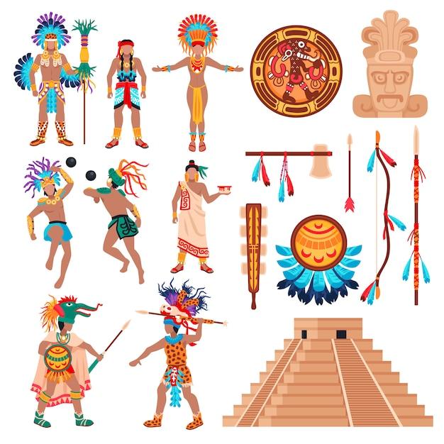 Набор элементов культуры майя Бесплатные векторы