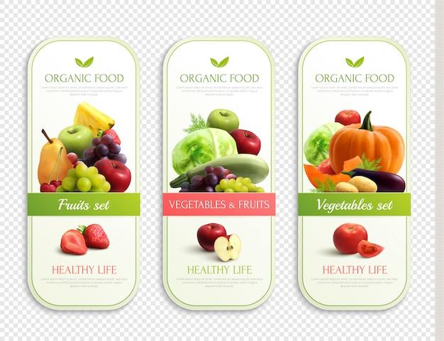 果物と野菜の有機ラベル 無料ベクター