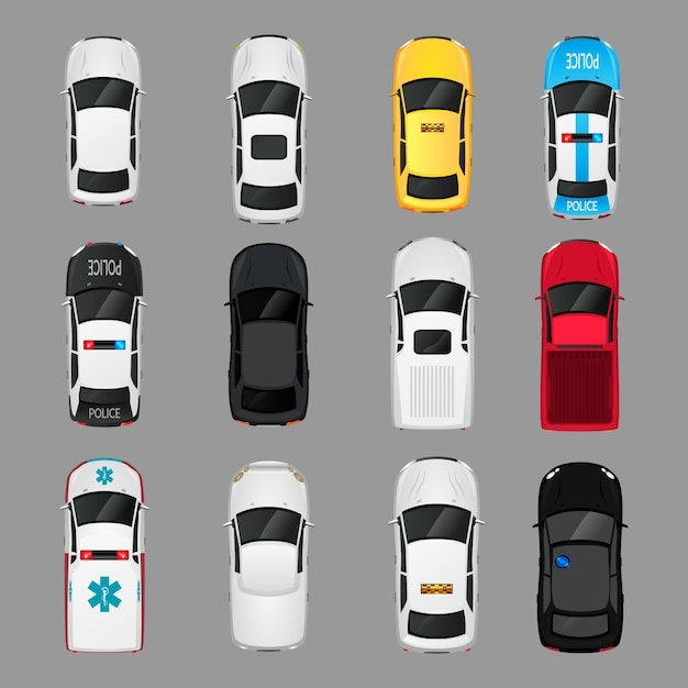 Автомобили транспорт вид сверху набор иконок изолированных векторных иллюстраций Бесплатные векторы
