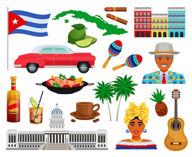 キューバ旅行セット 無料ベクター