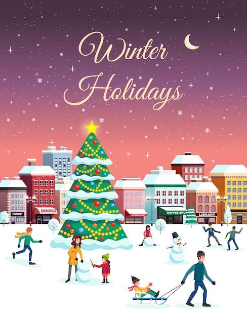 冬の街の風景イラスト 無料ベクター