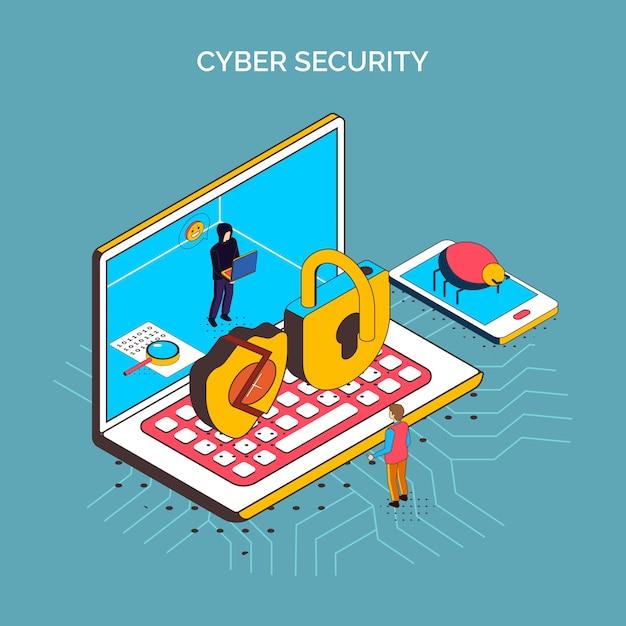 ラップトップコンピューターの概念的なアイコンと等尺性サイバーセキュリティ構成が壊れてロック電話とバグ画像ベクトルイラスト 無料ベクター