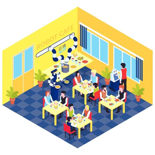 ロボットベクトル図を提供するテーブルで人々とロボットカフェインテリアのビューとロボットオートメーション構成 無料ベクター