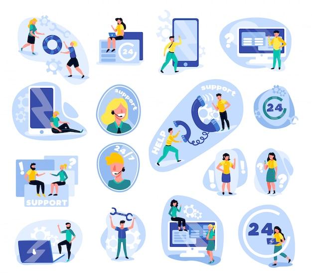 Поддержка колл-центр набор изолированных иконок с каракули человеческих персонажей гаджетов иконки Бесплатные векторы