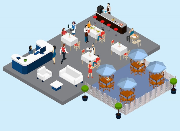 Ресторанное обслуживание изометрической композиции с официантами и клиентурой бариста уличные столы ожидания и платежные зоны векторная иллюстрация Бесплатные векторы