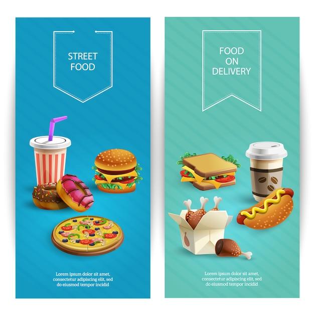 Вертикальный мультфильм баннеры с вкусными блюдами быстрого питания, ресторан быстрого питания Бесплатные векторы