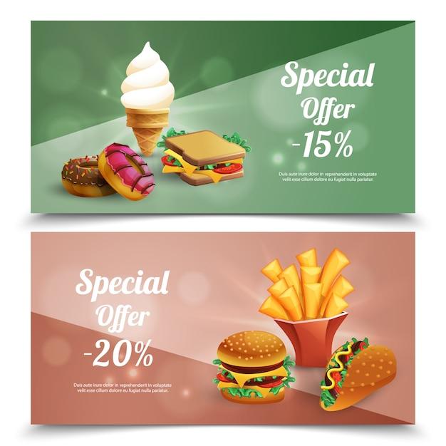 ハンバーガーフライドポテトアイスクリームドーナツサンドイッチ漫画分離ベクトルイラスト入りファーストフード特別オファー水平バナー 無料ベクター