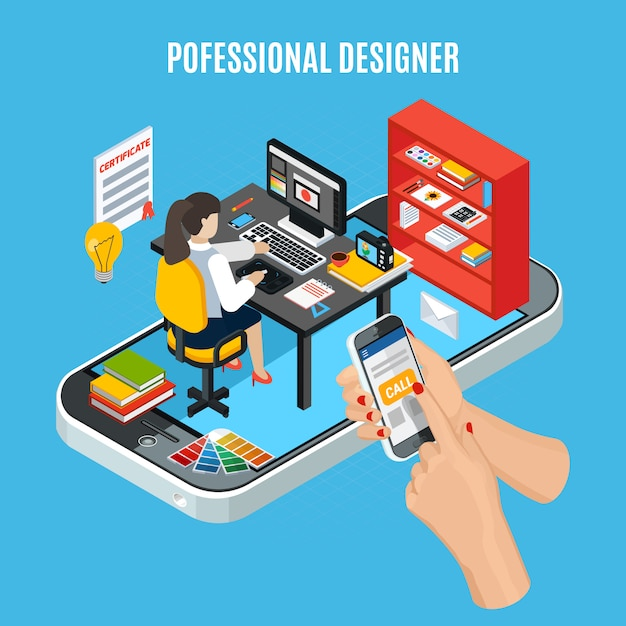 Концепция услуг графического дизайна с профессиональным дизайнером на работе Бесплатные векторы
