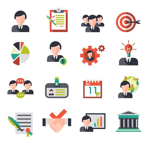 ビジネスマネジメントのアイコンは、ビジネスマンのチームの人事アバターは、ベクトル図を示して設定 無料ベクター