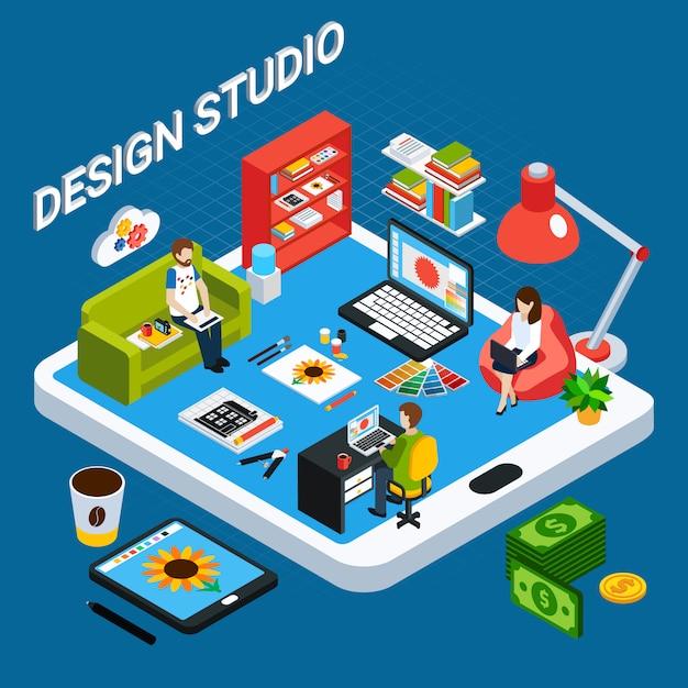 Концепция студии изометрические графического дизайна с иллюстратором или дизайнером, работающих на компьютере и планшете Бесплатные векторы