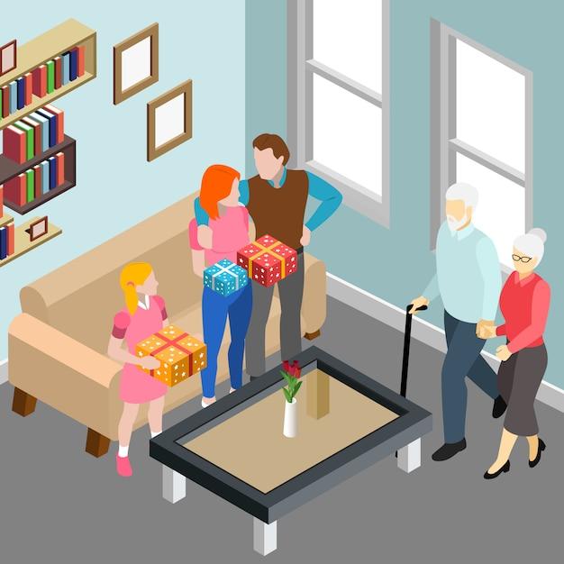Пожилая пара во время семейного визита к детям и внучке в домашнем интерьере изометрии векторная иллюстрация Бесплатные векторы