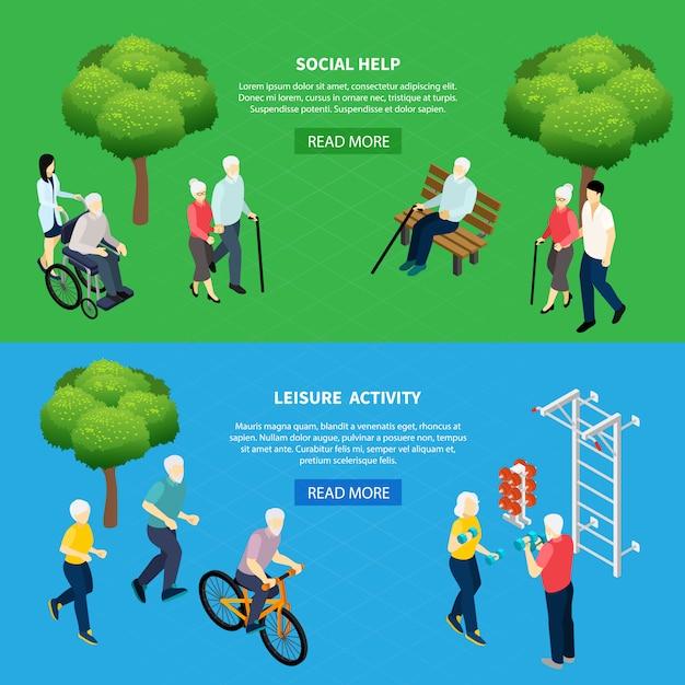 Изометрические горизонтальные баннеры социальная помощь для пожилых людей и досуга пенсионеров, изолированных векторная иллюстрация Бесплатные векторы