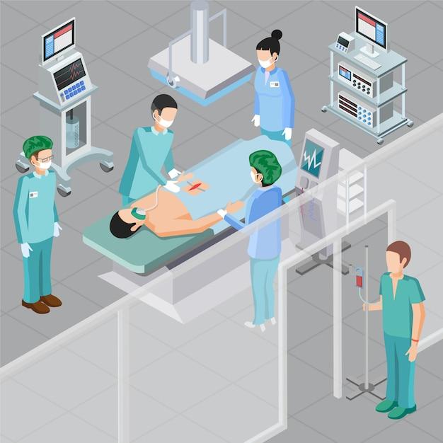 Изометрическая композиция медицинского оборудования с человеческими персонажами врачей в операционной комнате с операционной комнате оборудования векторная иллюстрация Бесплатные векторы