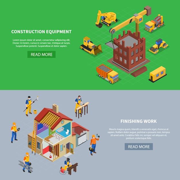 Набор из двух строительных изометрических баннеров с текстом кнопки «читать далее» и построения связанных изображений изображения векторные иллюстрации Бесплатные векторы