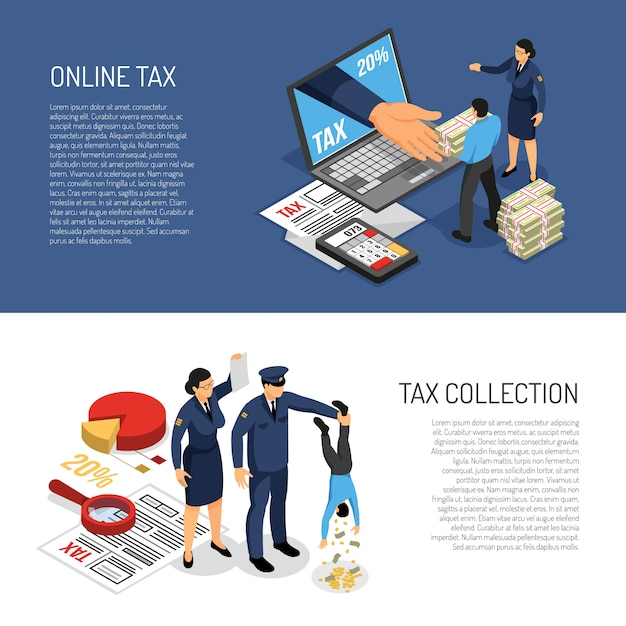 Он-лайн декларация о подоходном налоге и персонажи собирают деньги. горизонтальные изометрические баннеры векторная иллюстрация Бесплатные векторы
