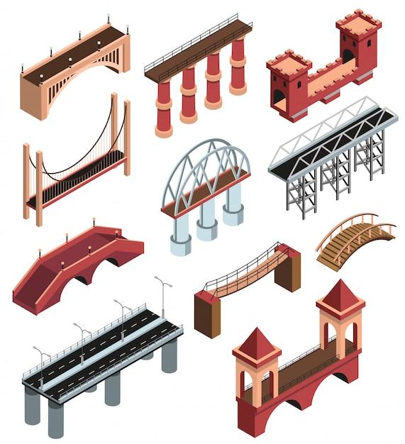 Мосты детали изометрические элементы коллекции с современными металлическими конструкциями древних деревянных каменных виадуков пролеты изолированных векторные иллюстрации Бесплатные векторы