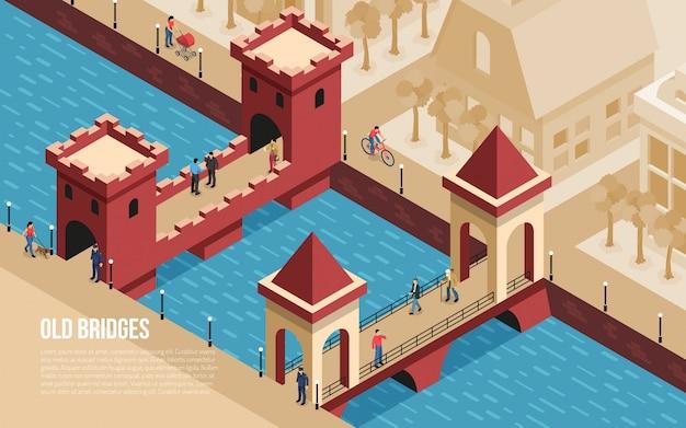 Исторические старые классические каменные мосты города достопримечательности с людьми, пересекающими реку изометрической композиции векторная иллюстрация Бесплатные векторы