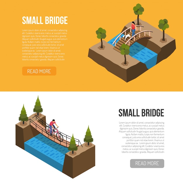 Исторические особенности маленьких мостов, изометрические горизонтальные баннеры шаблон с различными деревянными конструкциями векторная иллюстрация Бесплатные векторы