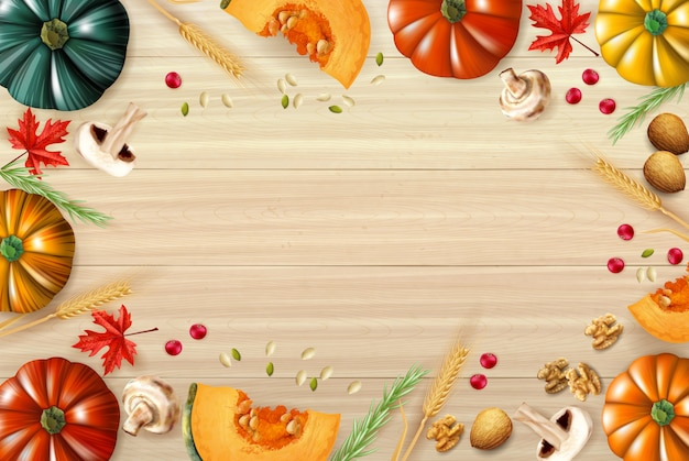 День благодарения фон с разноцветной композицией или рама с тыквами нарезанные грибы и различные элементы праздничного блюда векторная иллюстрация Бесплатные векторы